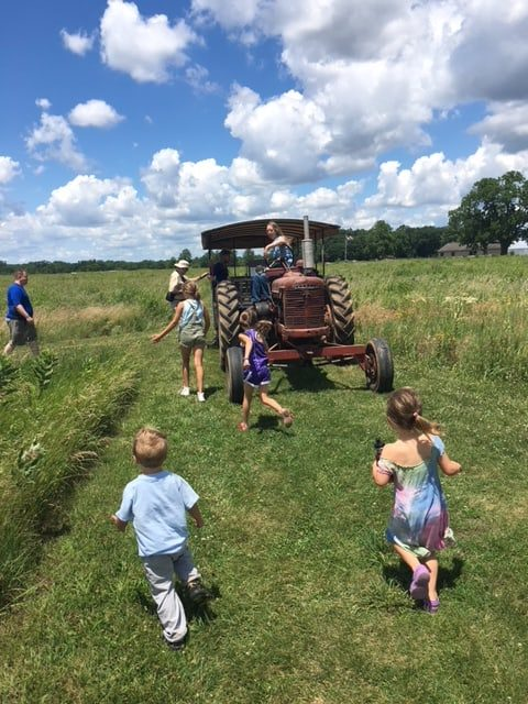 children in a field with a tractor
